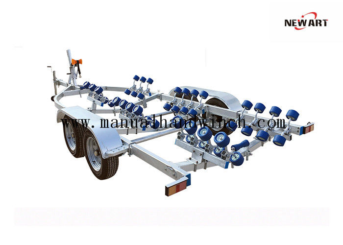 7750X2500mm Aluminum Semi Boat Trailer , 550kg Hop Dip Galvanized RC Boat Trailer