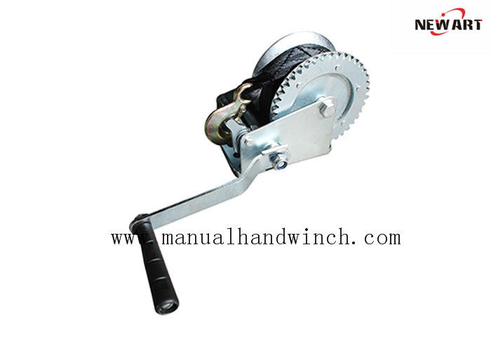 Small 1000lbs Manual Hand Winch With Black Strap Boat Trailer Parts Zinc Coating